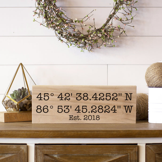 Mother's Day Gift | Wedding Gift | Latitude Longitude Sign | Gift For Her | GPS Coordinates | Housewarming Gift