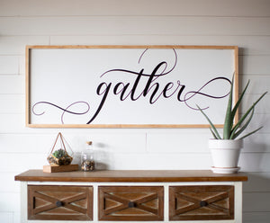 Gather Large Framed Wood Sign