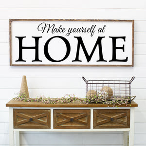 Make Yourself at HOME Large Framed Farmhouse Style Sign