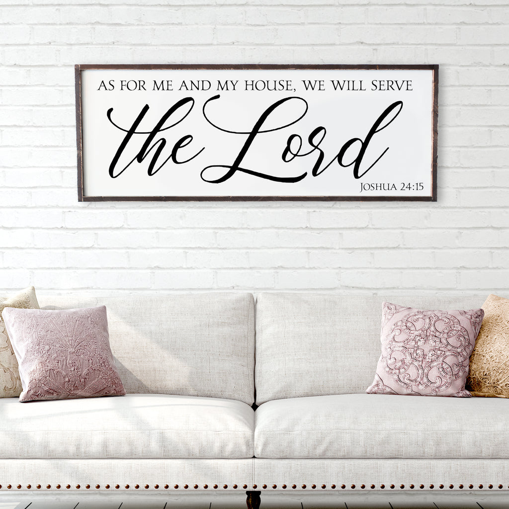 As For Me and My House We Will Serve The Lord Large Framed Wood Sign
