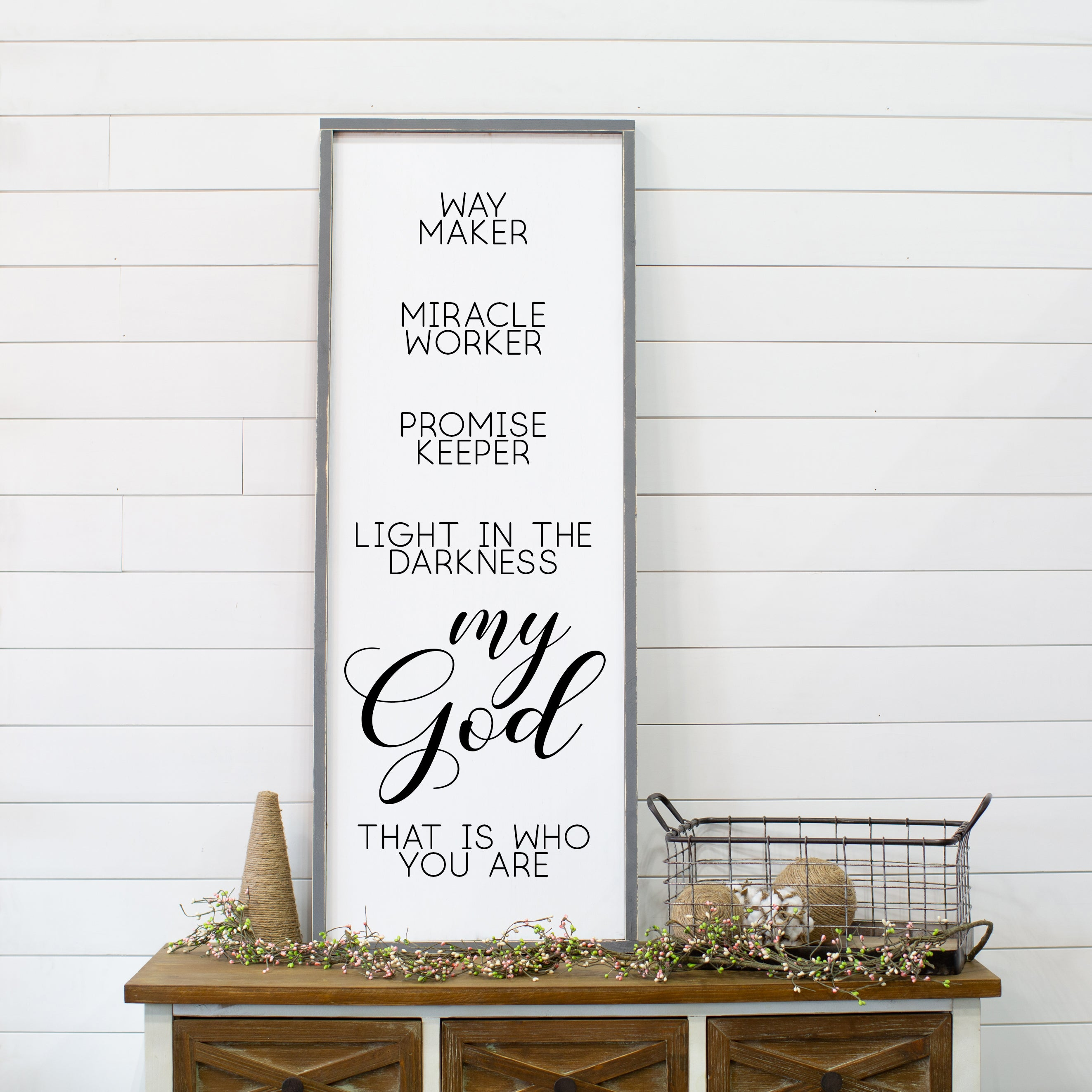 Way Maker, Miracle Worker, My God Large Framed Wood Sign