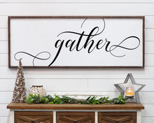 Gather Large Framed Farmhouse Style Sign