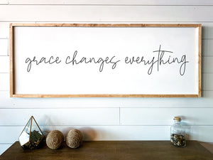 Grace Changes Everything Large Framed Wood Sign