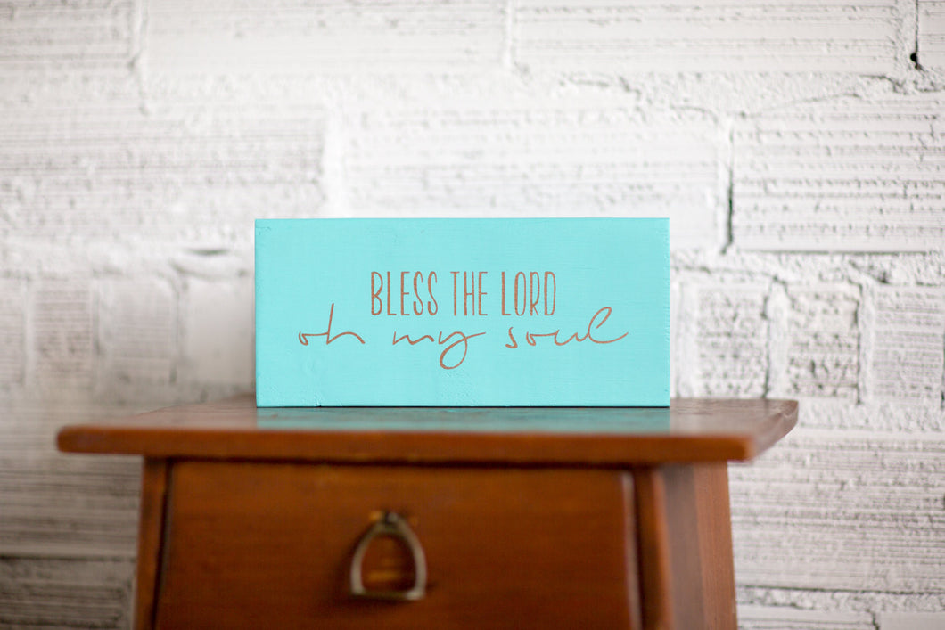 Christian Wood Sign | Bless the Lord Oh My Soul Reclaimed Wood Sign | Blessed Sign