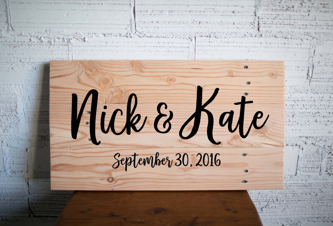 Wedding Name Sign | Custom Name Wood Sign | Custom Wedding Gift | Wedding Establish Sign