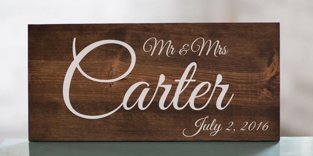 Last Name Wedding Sign | Wedding Gift | Wedding Establish Sign | Mr and Mrs Wood Sign