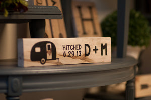 Personalized Wedding Gift For Her Wood Happy Camper Sign | Custom Initial Wood Sign |
