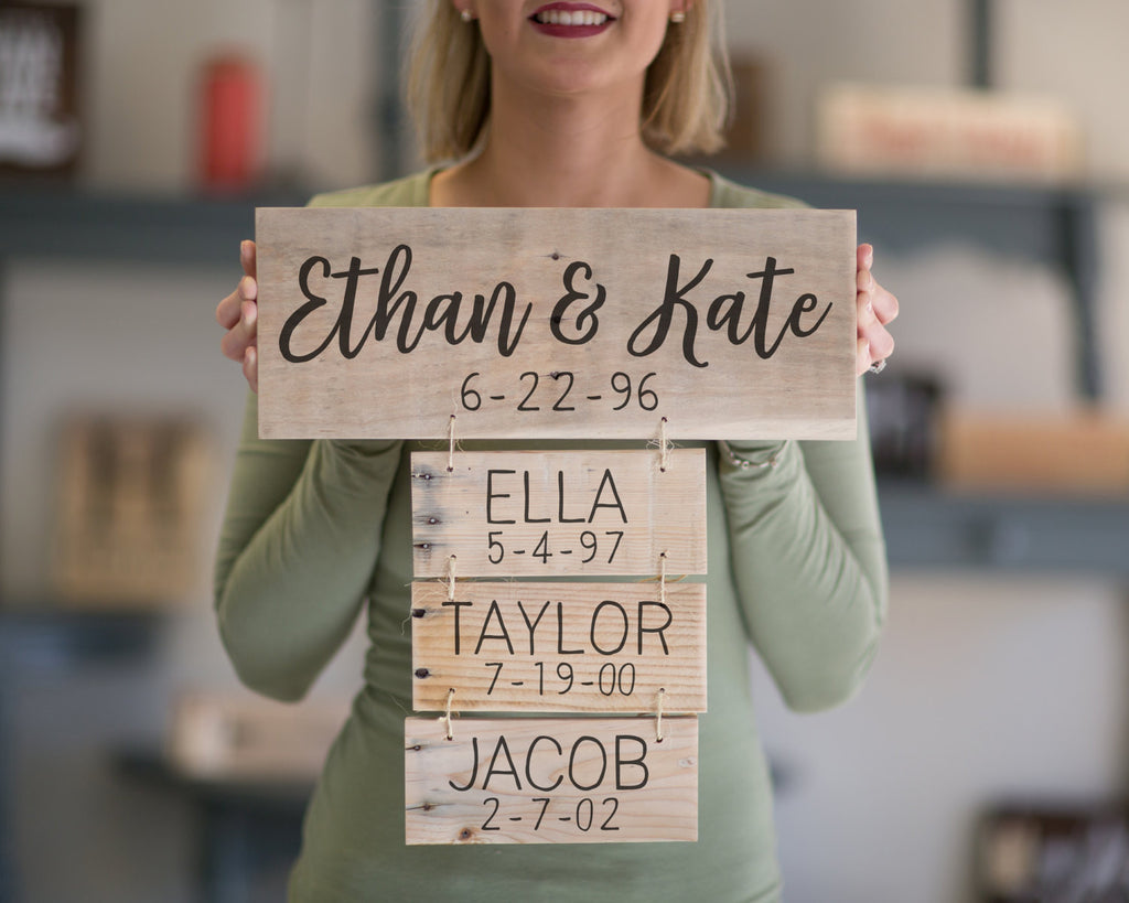 Anniversary Gift | Family Names Wood Sign | Personalized ...