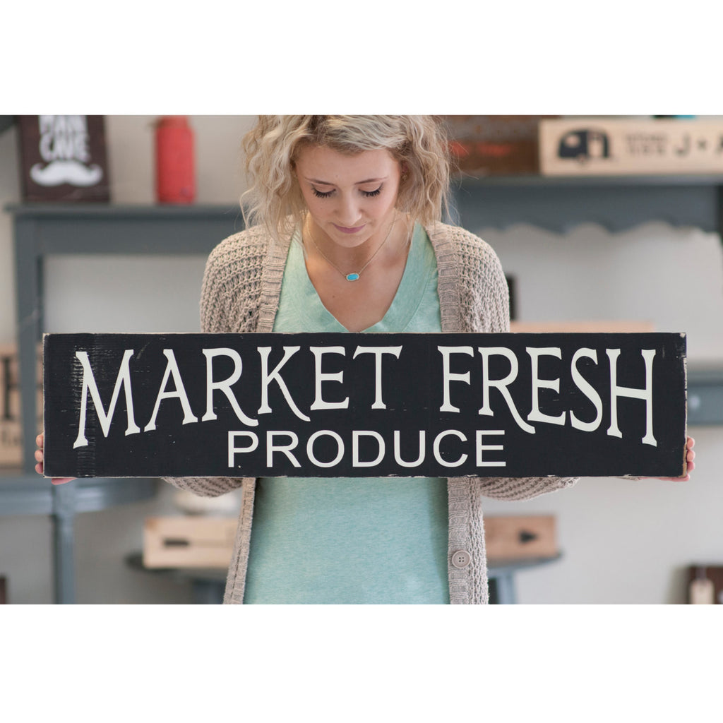 Market Fresh Produce Rustic Home Decor Wood Sign | Kitchen Sign | Farm Fresh Bakery Sign