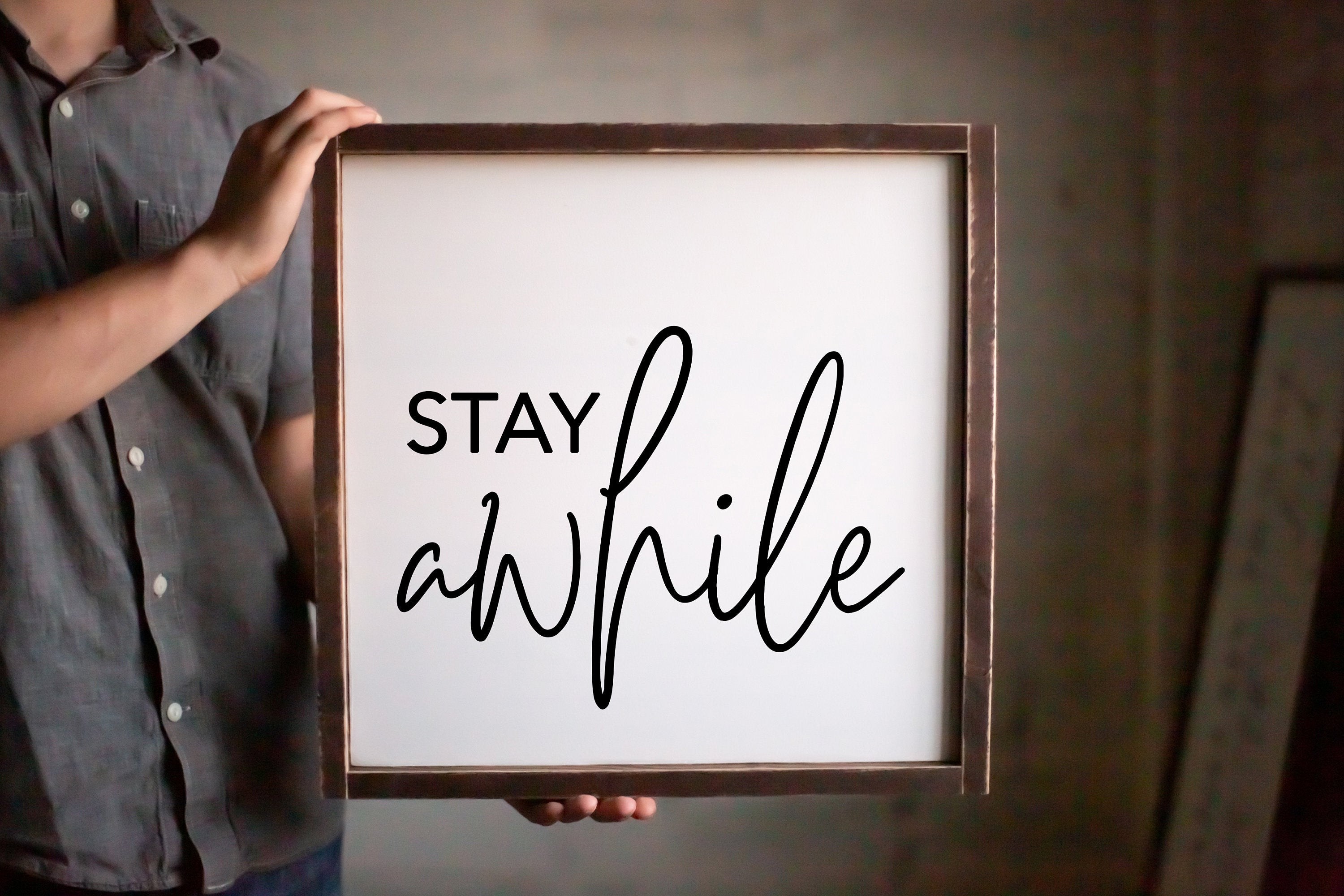 Stay Awhile Guest Room Framed Wood Sign  Housewarming Gift Sign  Modern Home Decor  Thanksgiving Decor  Fall Decor  Be Our Guest Sign