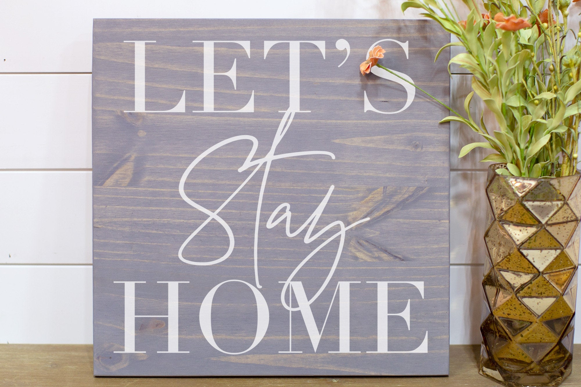 Let's Stay Home Gift for Him  Wood Sign  Modern Farmhouse Wood Sign  Home Gift  Home Decor Gift  Housewarming Gift