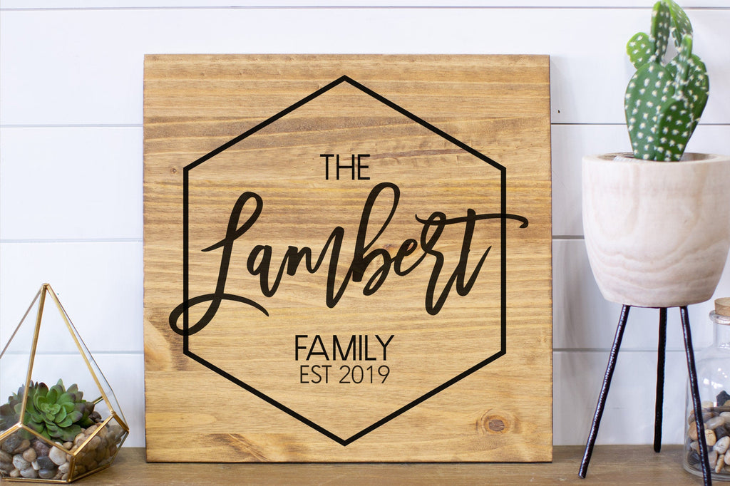 Personalized Family Name Wood Sign  Modern Name Sign  Wedding Last Name Sign Custom Family Sign  Personalized Name Sign
