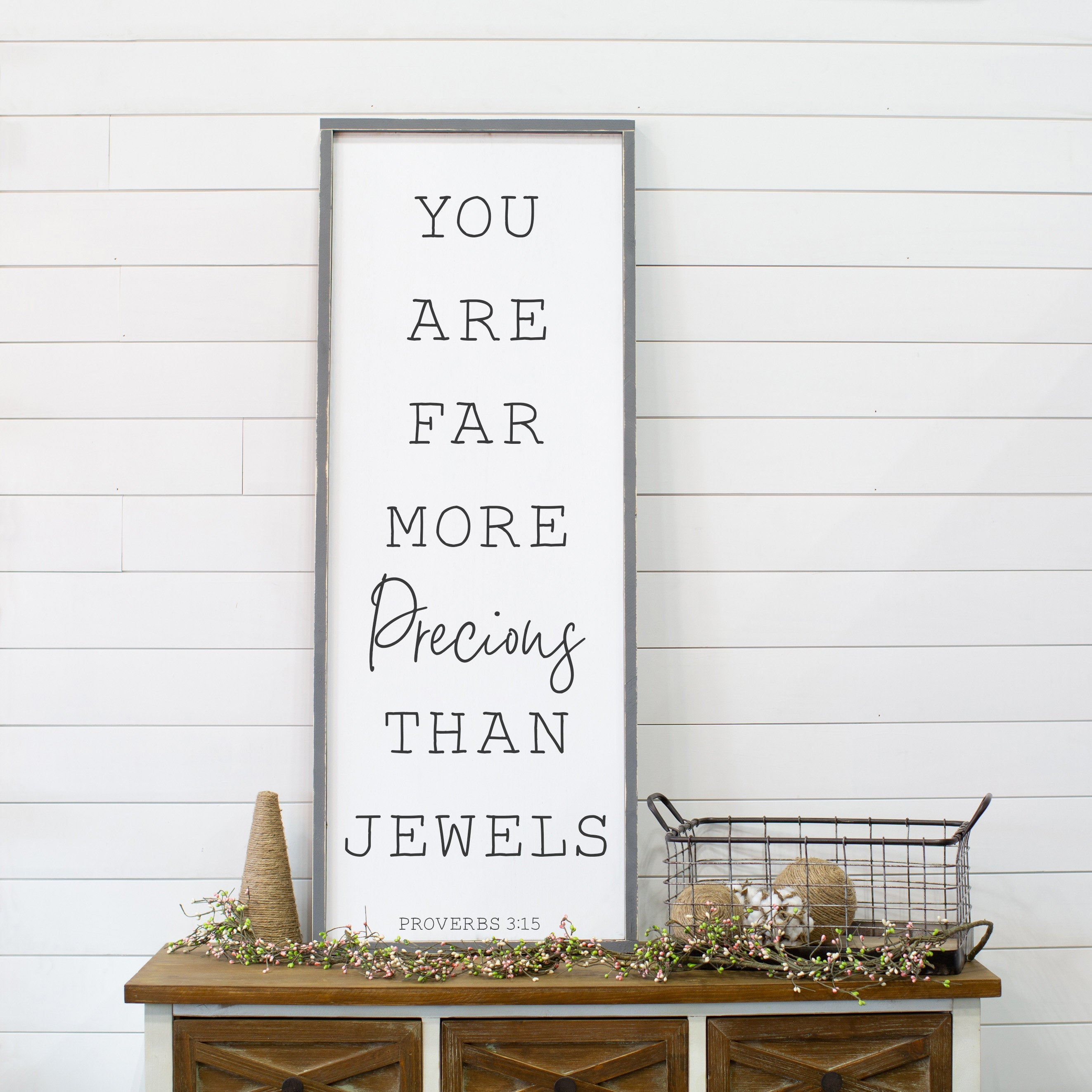 You Are Far More Precious Than Jewels Baby Shower Gift Large Baby Room Wood Sign Modern Farmhouse Decor Gift for Her Kids Bedroom Sign