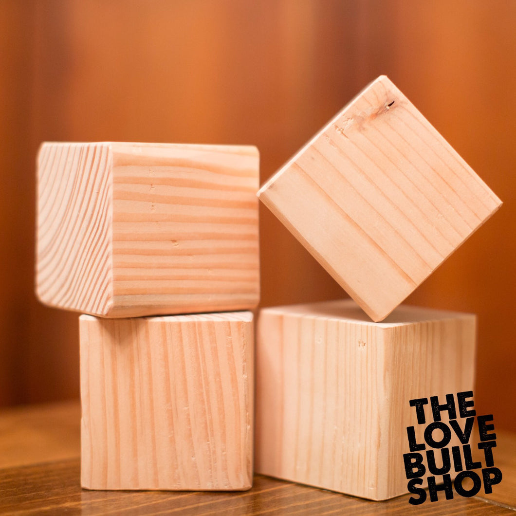 Unfinished Square Wood Blocks (30) | Set Of Wood Blocks | Pine 3.5 Inch Square Wood | DIY Projects