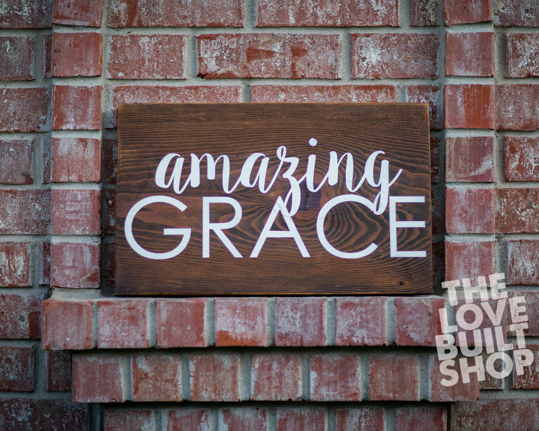 Home Decor Rustic Christian Amazing Grace Wood Sign | Gift For Her | Hymn Sign | Religious Gift