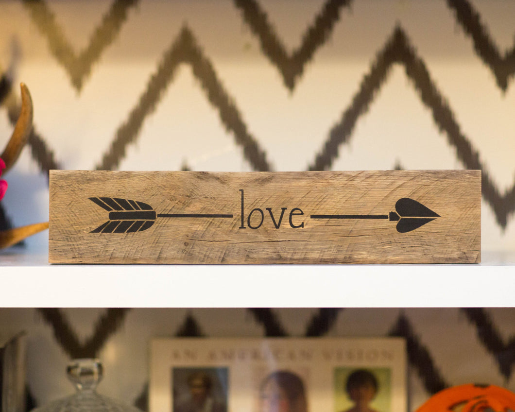 Reclaimed Wood LOVE Arrow Sign | Valentines Day Gift | Arrow Shelf Art | Gift for Her | Girls room