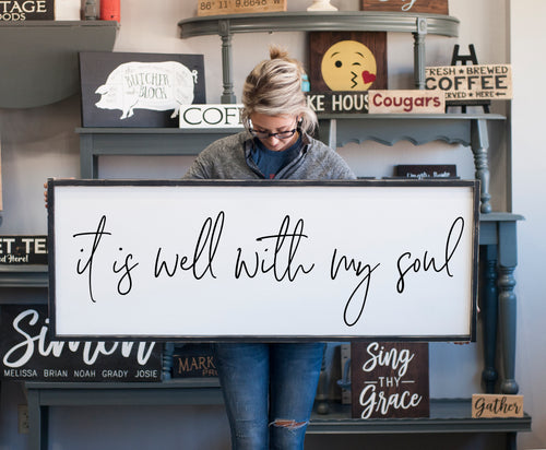 Mother's Day Gift | Large Framed Farmhouse Style It Is Well With My Soul Sign