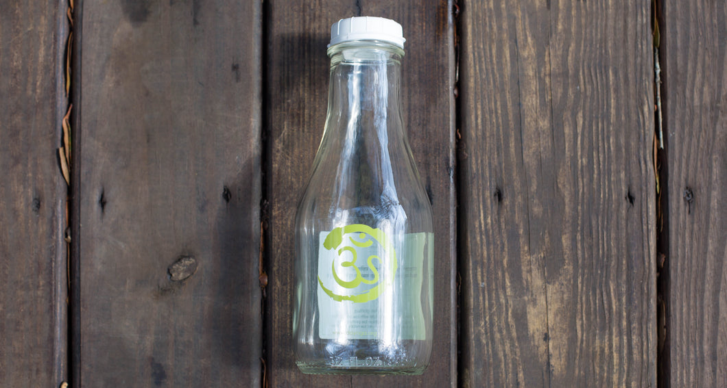 32 OZ GREEN OM REUSABLE GLASS WATER BOTTLE