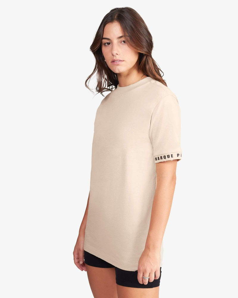 Load image into Gallery viewer, CREWNECK TEE SHIRT: SLEEVE (BEIGE)