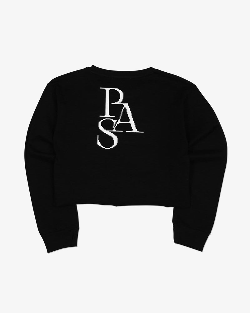 Load image into Gallery viewer, Cross Crewneck L/S Tee Shirt Crop (Black)