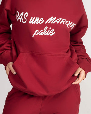 Load image into Gallery viewer, OVERSIZED HOODIE: CURSIVE (MAROON)