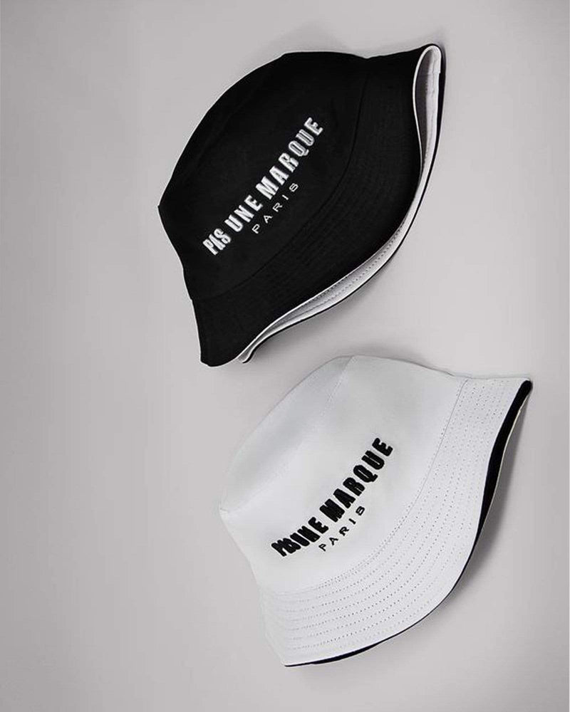 Reversible Embroidered Bucket Hat (Black / White)