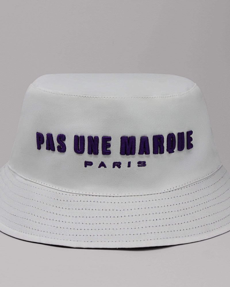 Reversible Embroidered Bucket Hat (Purple / White)