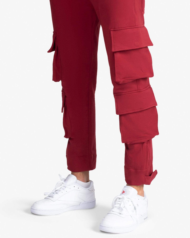 Load image into Gallery viewer, SWEATPANT: CARGO (MAROON)