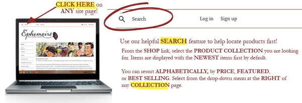 Use our helpful search feature to find items fast!