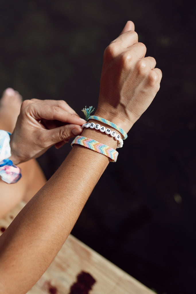 Dreamer Friendship Bracelet & Scrunchie Stack