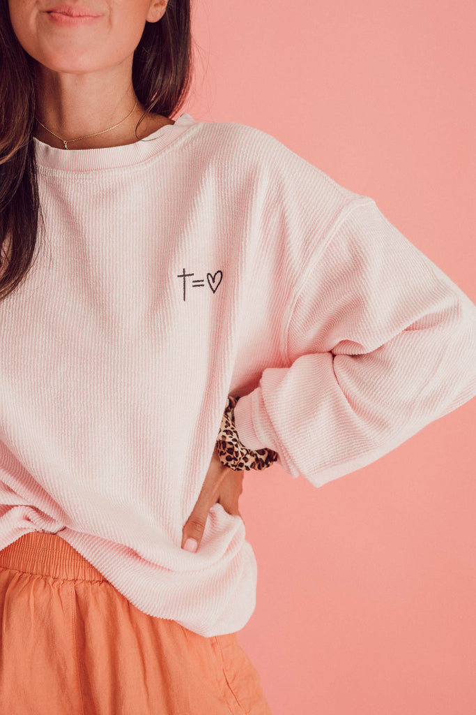 Heart Corded Pullover ♡ Pink