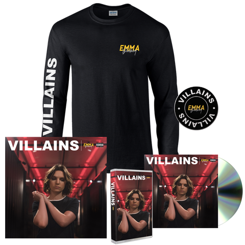 VILLAINS CD + CASSETTE + LONG SLEEVE T-SHIRT + PIN + SIGNED LITHO PRINT