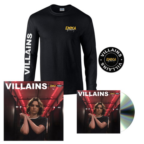 VILLAINS CD + LONG SLEEVE T-SHIRT + PIN + SIGNED LITHO PRINT