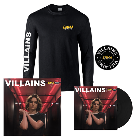 VILLAINS STANDARD LP + LONG SLEEVE T-SHIRT + PIN + SIGNED LITHO PRINT