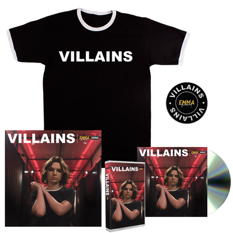 VILLAINS CD + CASSETTE + T-SHIRT + PIN + SIGNED LITHO PRINT