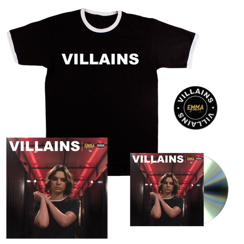 VILLAINS CD + T-SHIRT + PIN + SIGNED LITHO PRINT