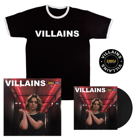 VILLAINS STANDARD LP + T-SHIRT + PIN + SIGNED LITHO PRINT