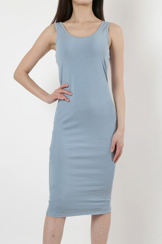 Sleeveless Ash Blue Midi Dress (knee length)