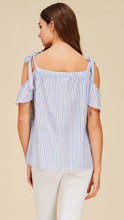 Cold Shoulder Seersucker Top