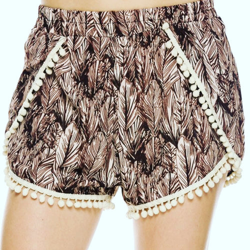 Pom Pom Shorts-Feather