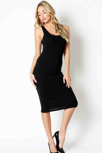 Sleeveless Black Midi Dress (knee length)