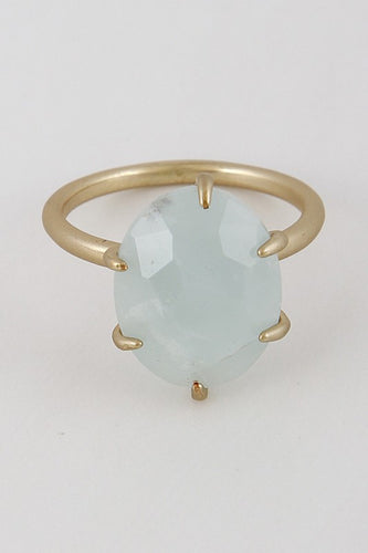 Mint /Gold Oval Stone Ring