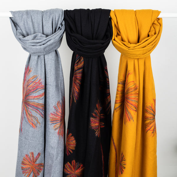 Cashmere Winter Flower Scarf