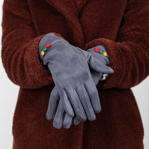 Colourful Faux Suede Gloves