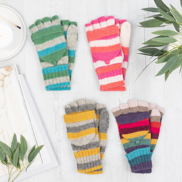 Rainbow Stripe Knit Gloves
