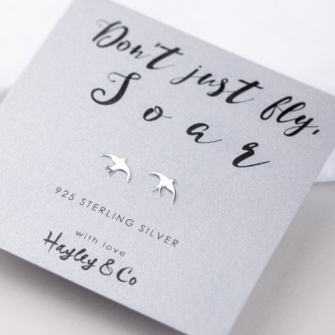 Good Luck Soaring Bird Sterling Silver Earrings