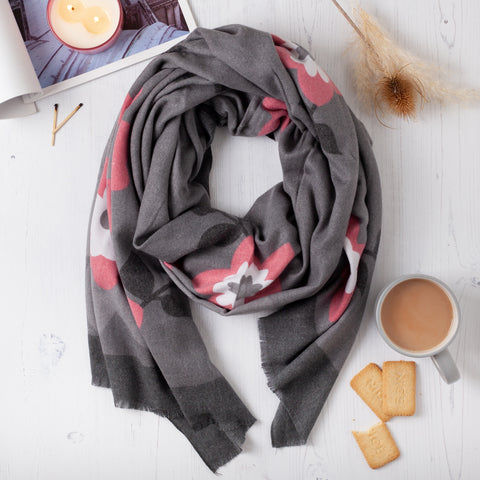 Cashmere Winter Floral Scarf
