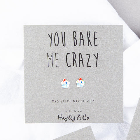 'You Bake Me Crazy' Cupcake Sterling Silver Earrings