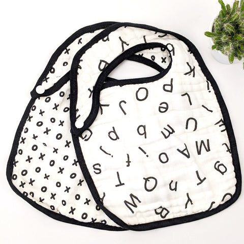 Black and White Baby Bibs - Two Pack