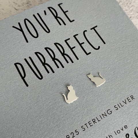 'You're Purrrfect' Sterling Silver Cat Earrings